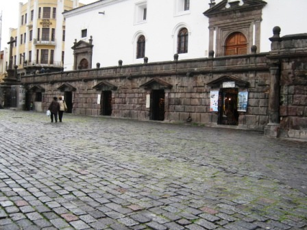 Shops under church. Quito Historic Center