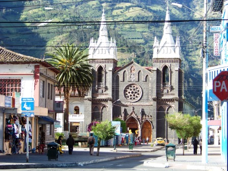 Church of the Virgin of the Holy Water Banos Ecuador