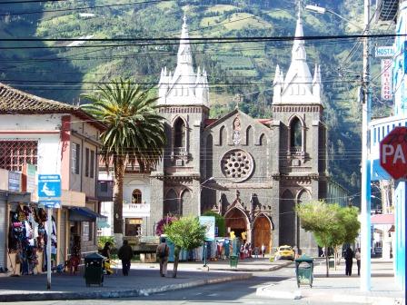 Church of the Virgin of the Holy Water Banos Ecuador