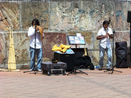 Musicians playing beside the New Cathedral, Cuenca