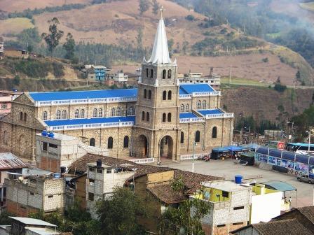 Even in small town the Catholic church has a  large presence. Bolivar Provence, Ecuador