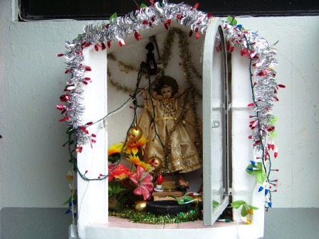 Shrines such as this one are common on the side of the road.