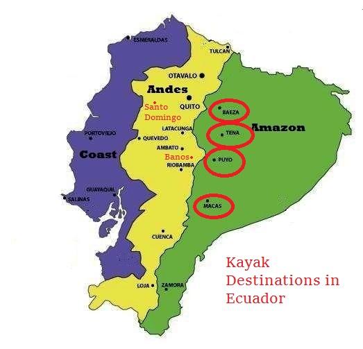 kayaking Ecuador destinations