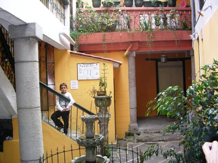An inner courtyard of one house on La Ronda street in Quito.