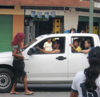 Men dress as widows on New Year's Eve to beg for money in Ecuador.
