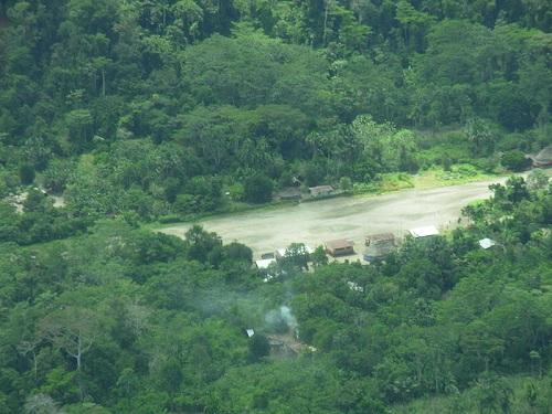 A small village along the river in the Ecuadorian Jungle.