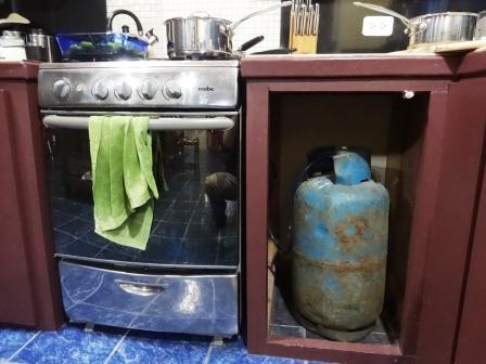 My stove and gas tank setup.