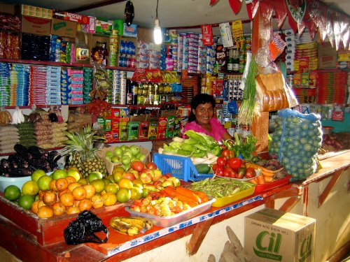 A typical corner store in Ecuador.